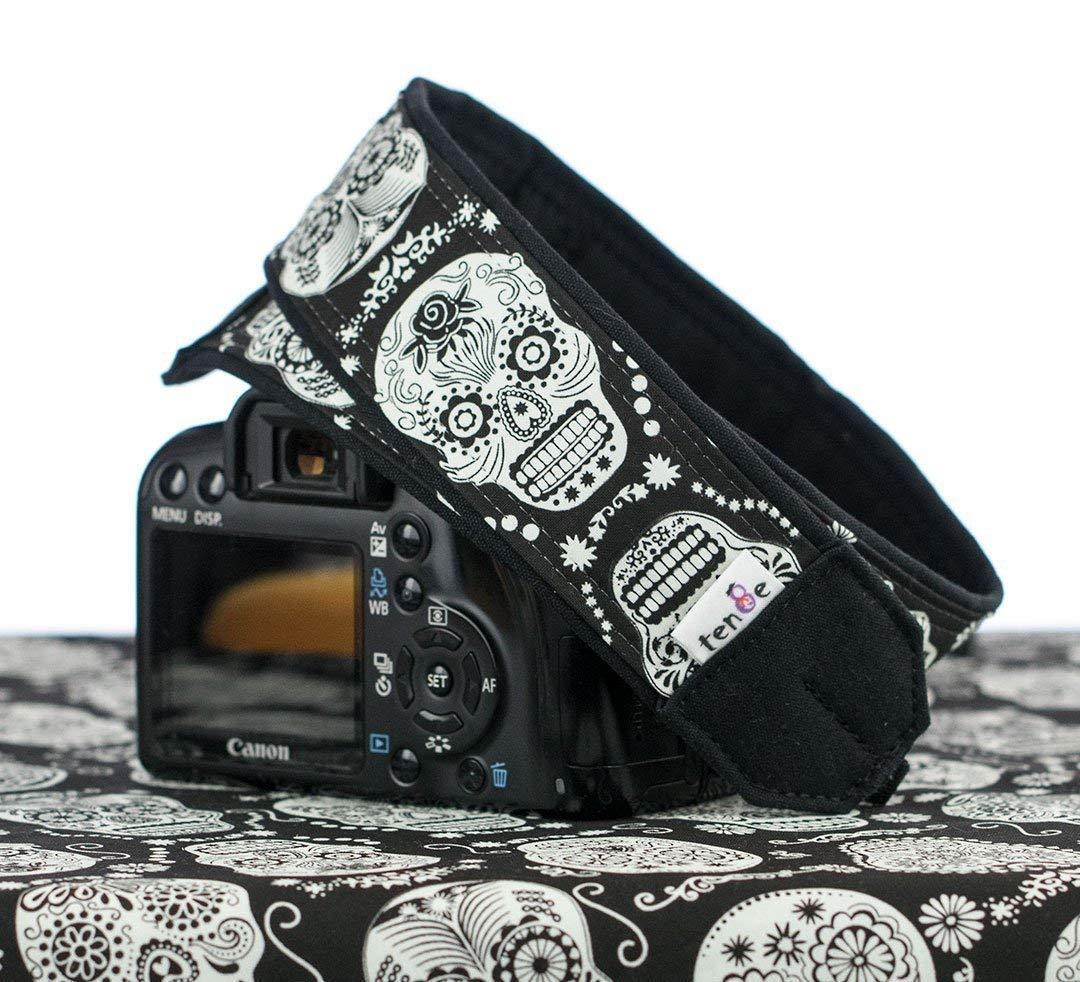 Camera Strap, Sugar Skulls Glow in the Dark, Fits dSLR, SLR or Mirrorless Cameras Dia de los Muertos, 237