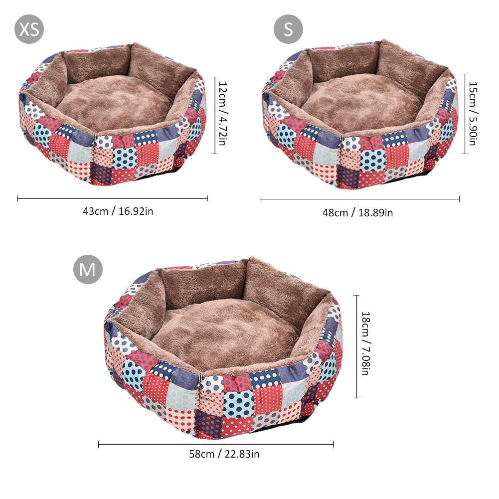 Pet Dogs Beds - Cojín de peluche extraíble impermeable con patrones coloridos para cama de invierno para perros y gatos pequeños y medianos: Amazon.es: ...