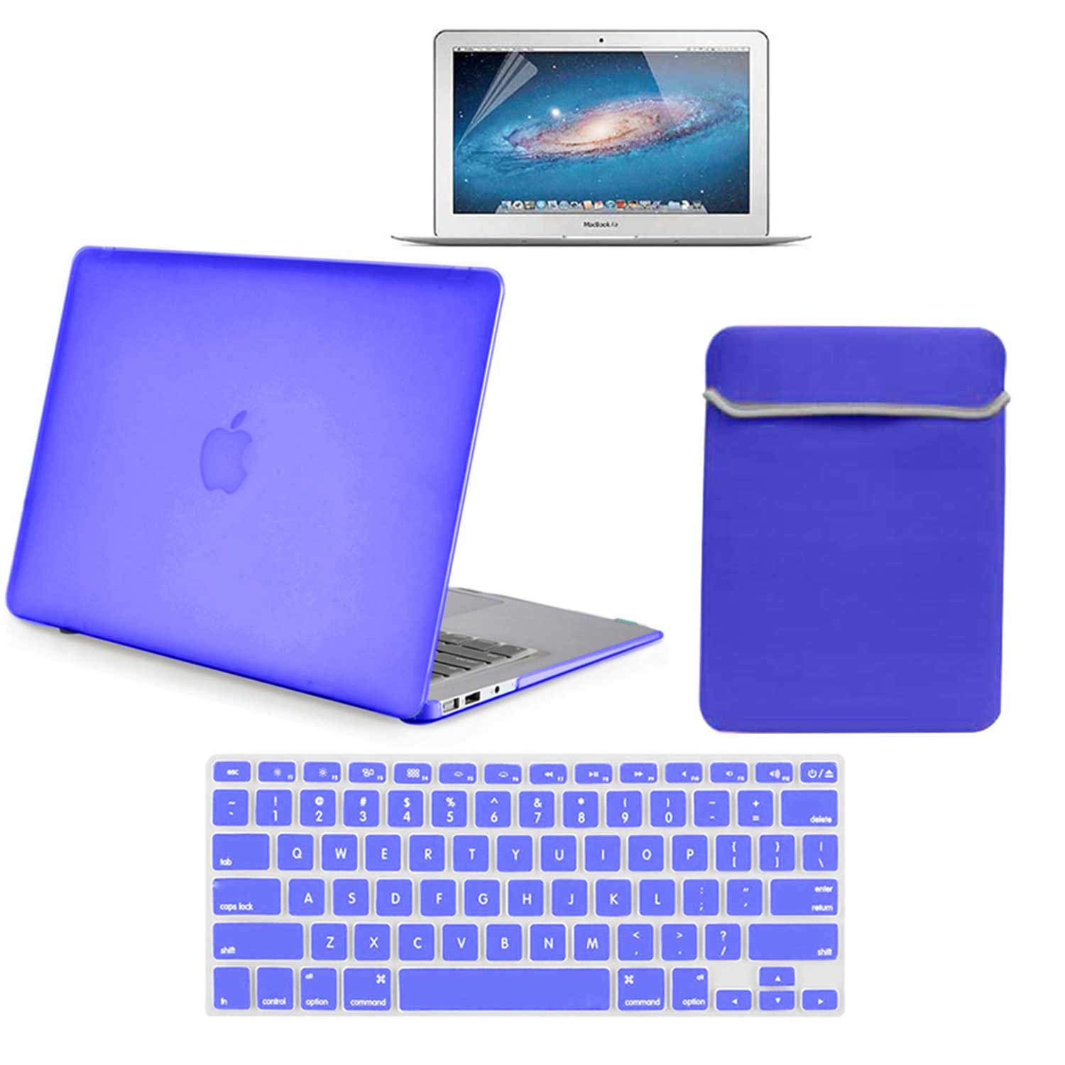 Pack of 20 Rubberrized Hard Plastic Case Cover Sleeve Cover Keyboard Skin Screen Protector for MacBook Air 13'' A1369/A1466 - Royal Blue