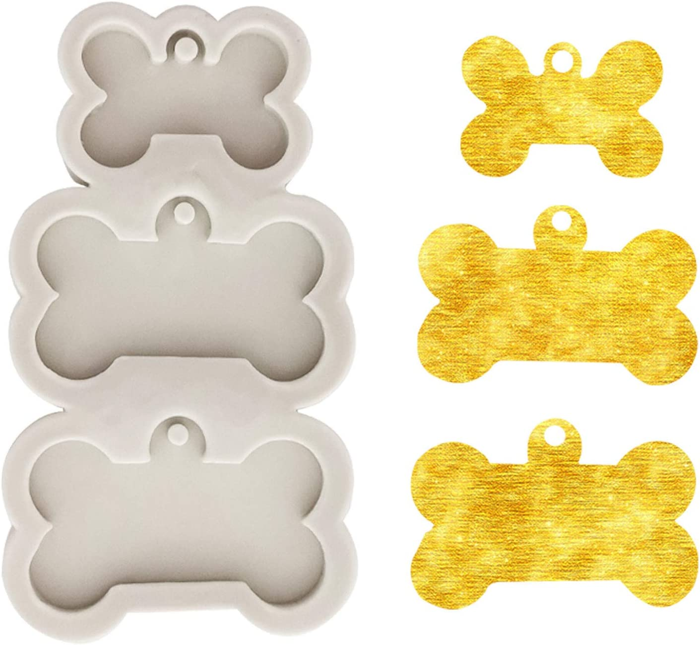 BELTI Ciondolo Appeso in Cristallo epossidico Stampo in Resina Fai da Te medaglietta per Cani a Forma di Osso Portachiavi Stampo in Silicone