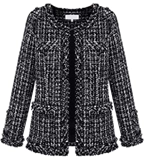 b312533b71e Womens Autumn Spring Tweed Jacket Women Ladies Short Coats Black Fancy  Cardigans Plus Size