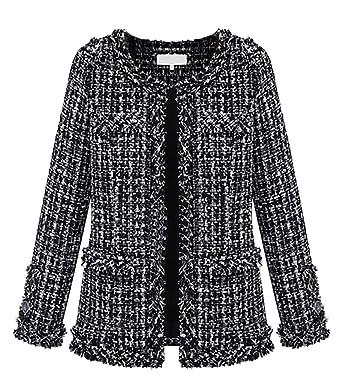 1d58791f983 Womens Autumn Spring Tweed Jacket Women Ladies Short Coats Black Fancy  Cardigans Plus Size: Amazon.co.uk: Clothing