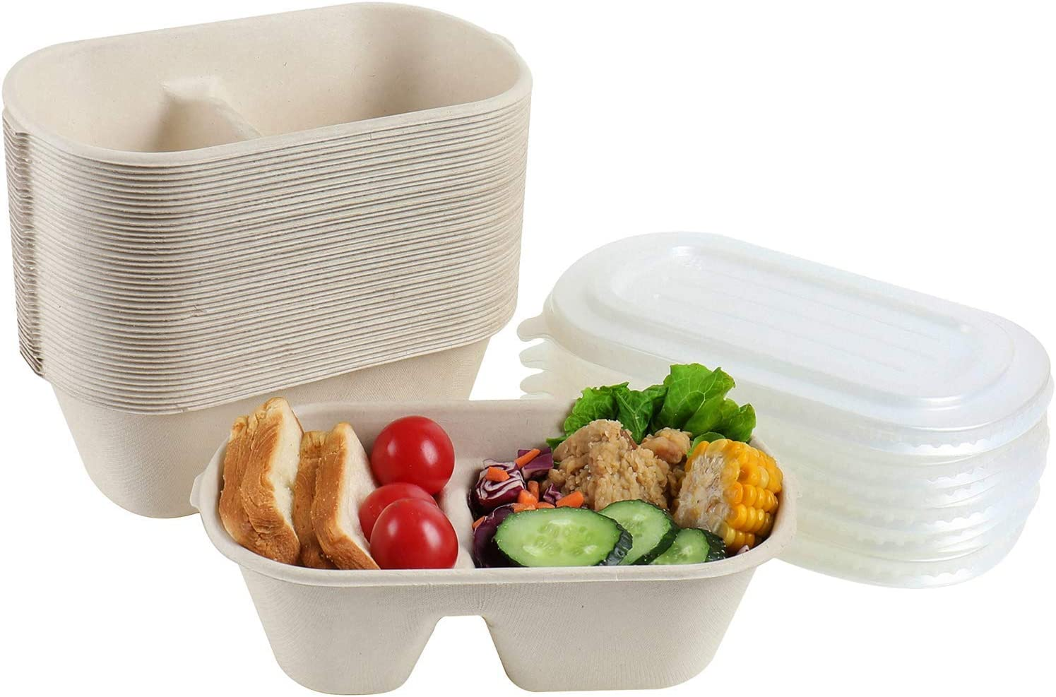 JAYEEY 32OZ Disposable bowls WITH PP LIDS, 2 compartment Compostable Fiber Food Container, Food Storage, Biodegradable Bagasse Microwave Safe 50 PACK
