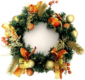 ALEKO CHDW16G Decorative Holiday Christmas Wreath Gold and Orange Accented
