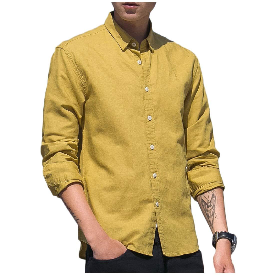 MirrliyMen Slim Long Sleeve Solid Colored Turn-Down Collar Flax Shirt