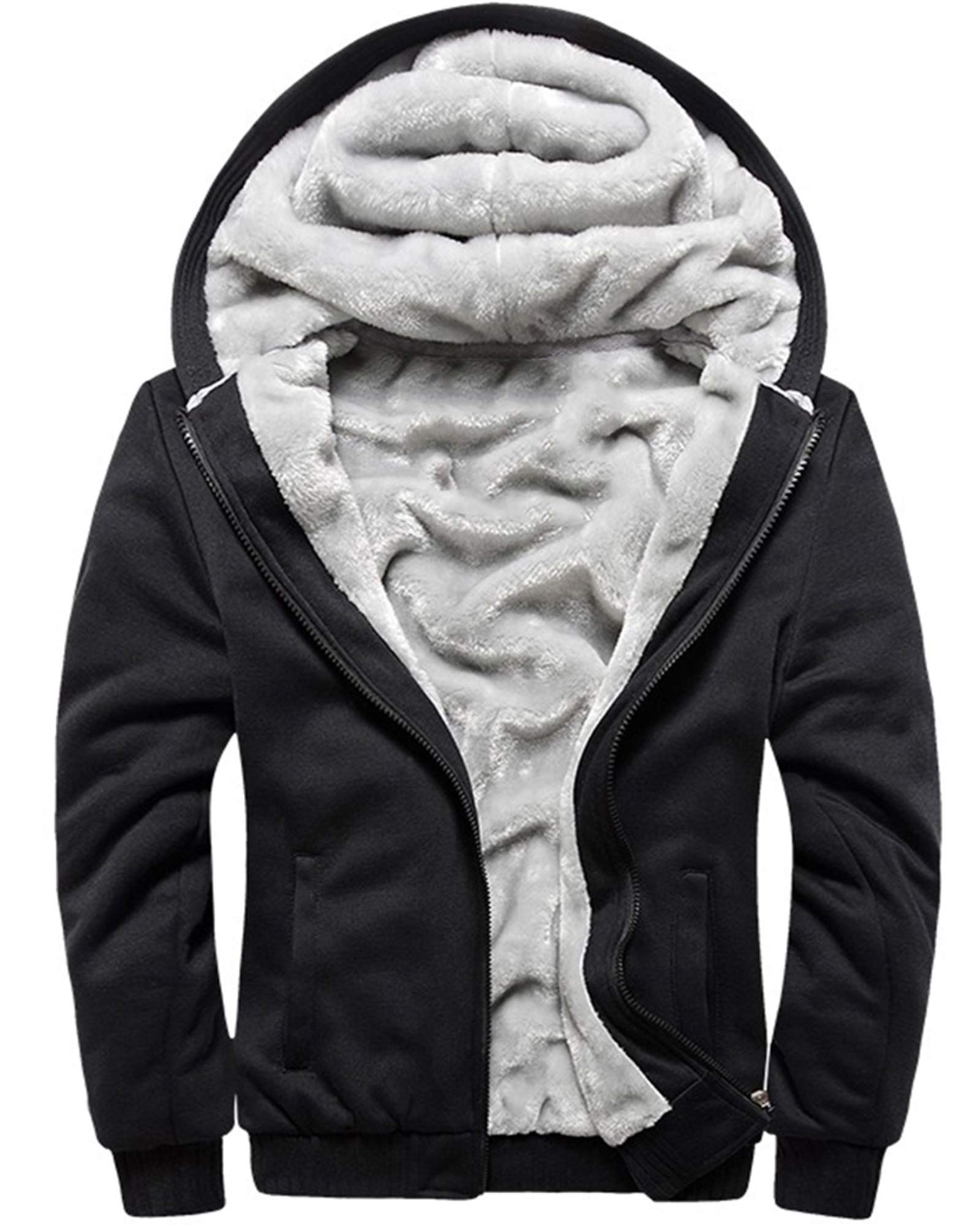 Nicetage Mens Fuzzy Sherpa Hoodie Lightweight Jacket Open Front Cardigans Coat with Pockets No Zipper
