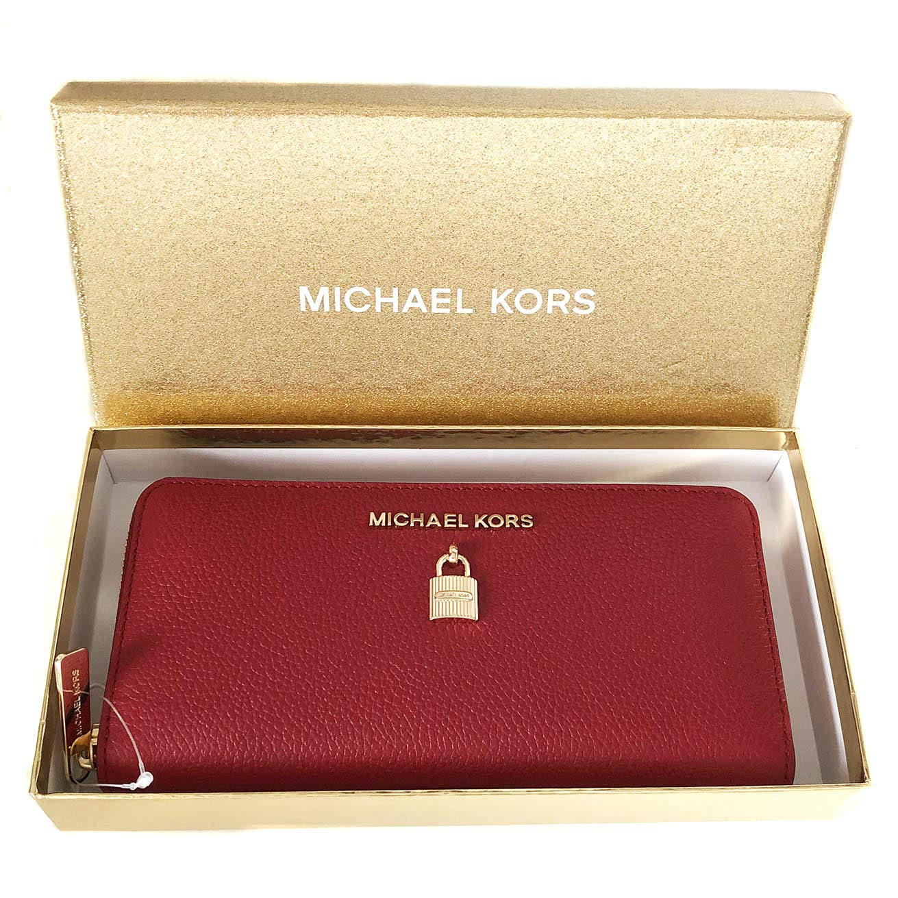 7653f7d477a4 Michael Kors MK Large Scarlet Red Adele Leather Purse Wallet Gift Boxed