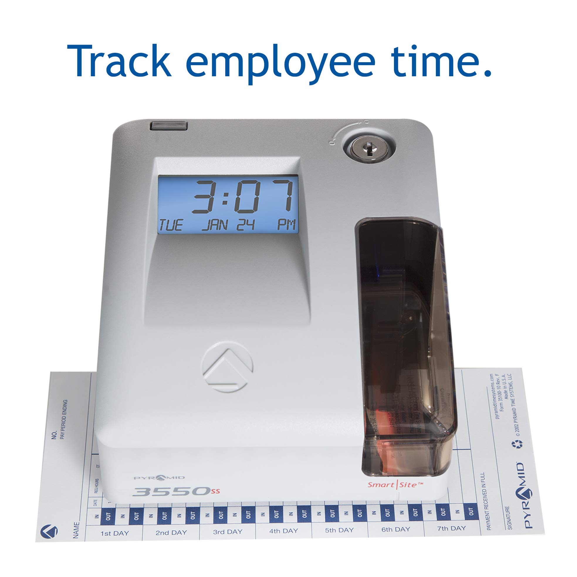 Pyramid 3550ss SmartSite Time Clock and Document Stamp - Made in USA by Pyramid Time Systems (Image #2)