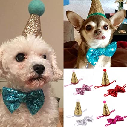 Jeeke Pet Birthday HatCute Dog Cone Hat And Shiny Headwear With Tie