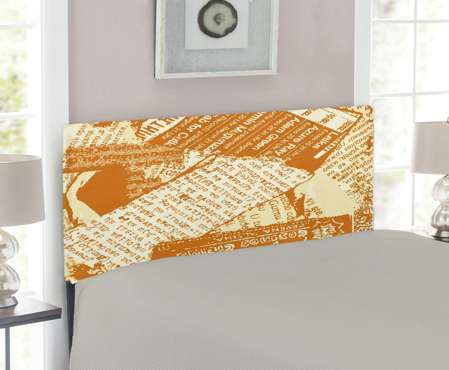 Amazoncom Lunarable Old Newspaper Headboard For Full Size