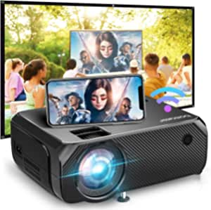 Bomaker WiFi Mini Projector, 150 ANSI Lumen Portable Projector, 1080P Full HD Supported, Wireless Mirroring, Native 1280x720P Outdoor Movie Projector, for TV Stick/PS4/iPhone/Android/Windows