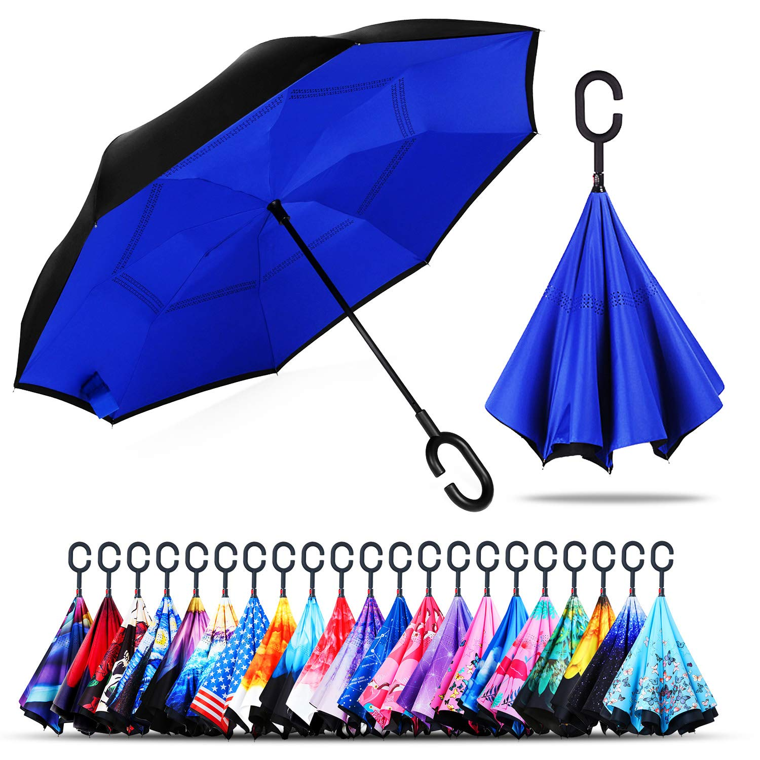 Owen Kyne Windproof Double Layer Folding Inverted Umbrella, Self Stand Upside-Down Rain Protection Car Reverse Umbrellas with C-Shaped Handle (Sapphire Blue) by Owen Kyne