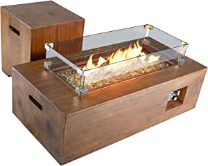 ECOTOUGE 2-Piece Outdoor Propane Fire Pit Table Set with 20 Gallon Tank Side Table, 42Inch 50,000 BTU Rectangular Fire Table, Wind Guard Waterproof Cover, Outdoor Furniture