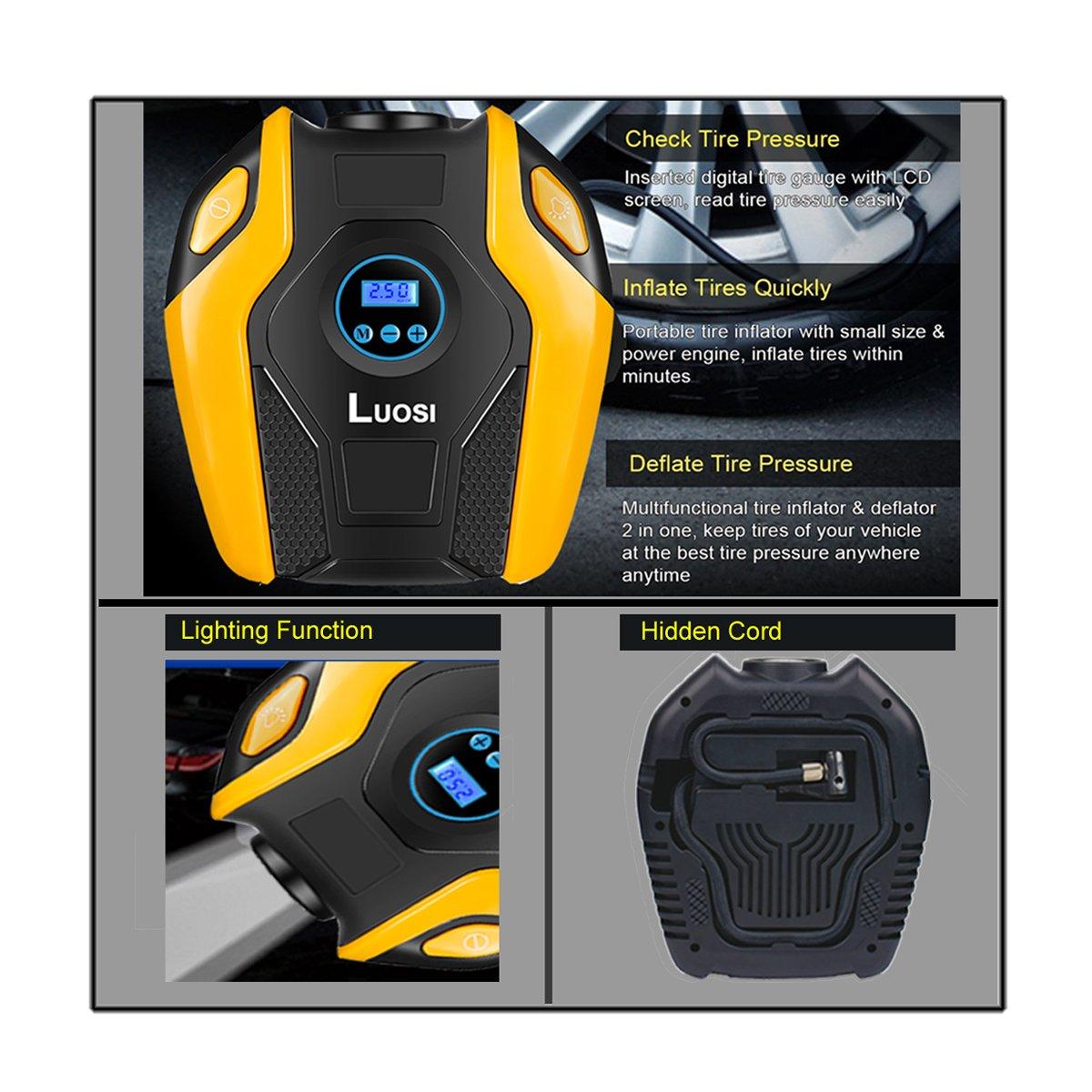 Amazon.es: Luosi Compresor de Aire Portátil Auto Pantalla con Digital Inflado de Neumático 12V DC 150PSI (Naranja)