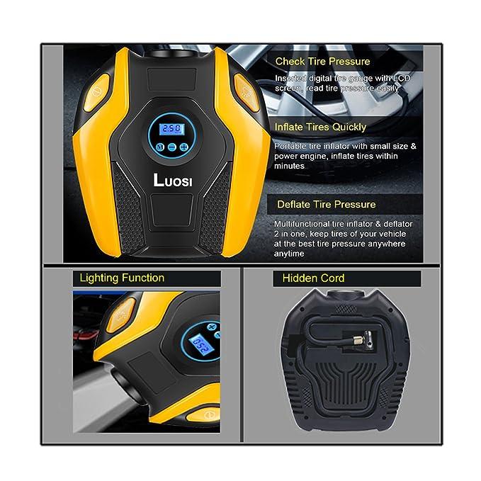 Amazon.com: LUOSI Portable Air Compressor Pump 12V DC 150 PSI Auto Digital Tire Inflator Tire Pump(Orange): Automotive
