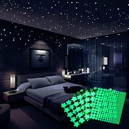 Glow in The Dark Stars, Oumers 4 Packs of 521 Adhesive Fluorescent ...