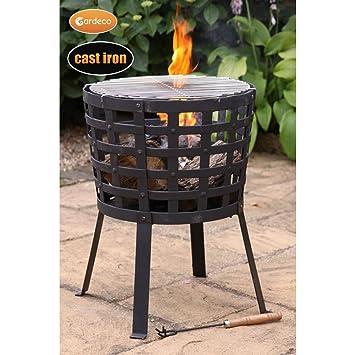 Gardeco Aragon Gusseisen Feuerkorb Pit ideal für Outdoor Terrasse