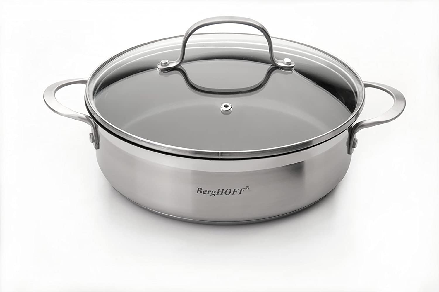 Amazon Com Berghoff Bistro Covered 2 Handle Non Sticky Deep Skillet 10 Silver Kitchen Dining