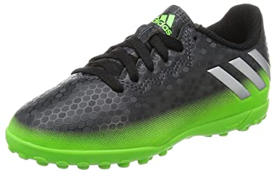 b36bc679d65 adidas Kids  Messi 16.4 TF Football Boots Dark Grey Silver Metallic Solar  Green