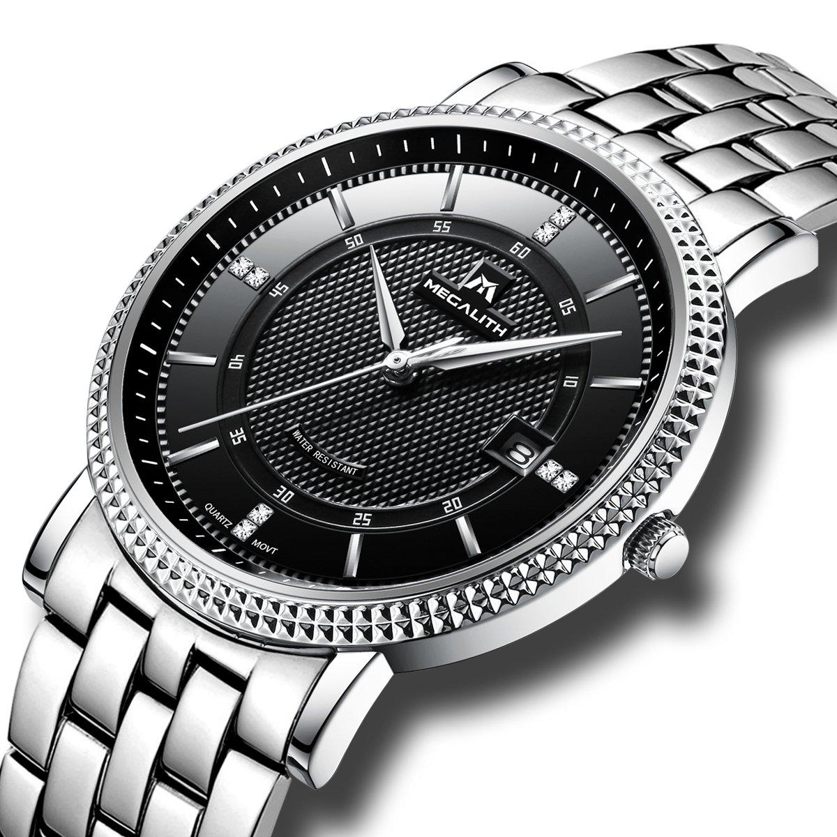 Mens Black Wrist Watches Men Waterproof Silver Stainless Steel Watches Date Luxury Thin Watch for Men