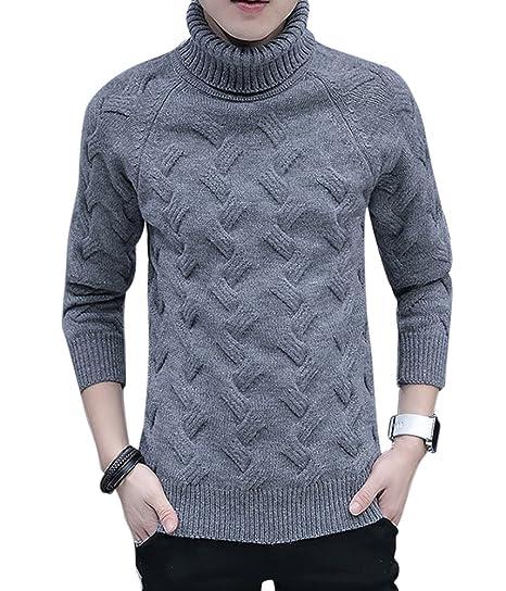 f77b6bd8141b32 Maglione da Uomo Maglia Manica Lunga Dolcevita Collo Alto Maglia Pullover  Sweatshirt Grigio Scuro S