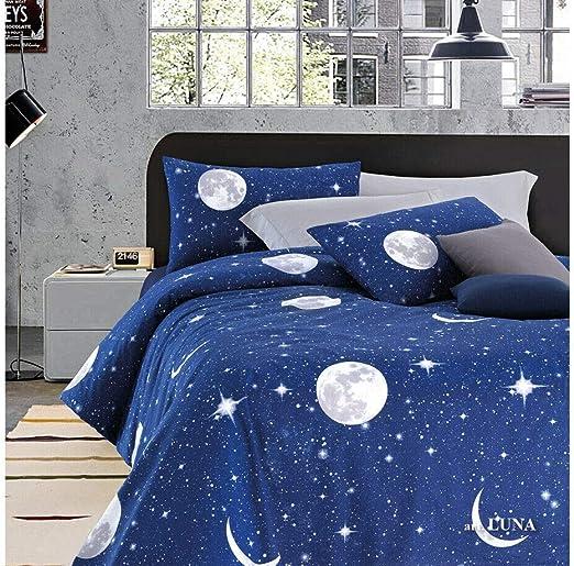 Juegos de sábanas para cama Doble, 100% algodón, MADE IN ITALY, diseño Planetario Luna e Stelle: Amazon.es: Hogar