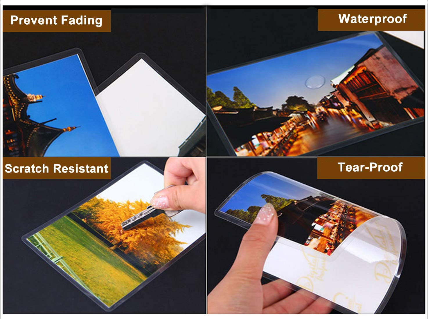 Dimensione 11x16cm Puches Plastificazione Confezione da 100 2x75mic Plastificare Fogli per Plastificatrice a Caldo per Foto Carta Sigillata Halcent 10x15cm Pouches per Plastificatrice