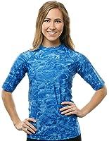 Aqua Design Women UPF Short Sleeve LooseFit Sun Protection Rash Guard Surf Shirt