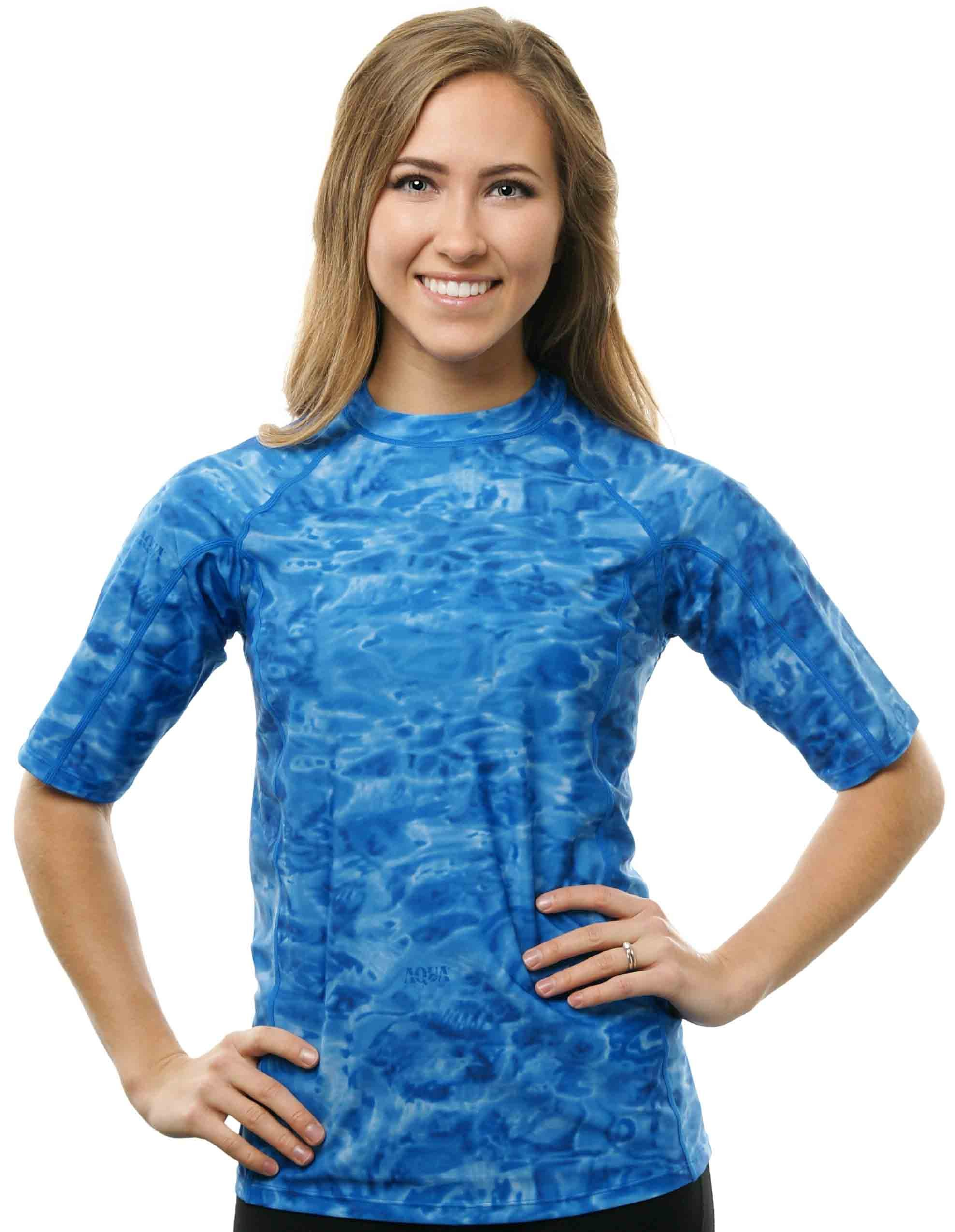Aqua Design Women UPF 50+ Short Sleeve Comfort Fit Rash Guard Swim Surf Shirt