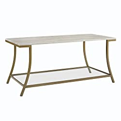 Dorel Living Moriah Coffee Table, Soft Brass, Faux Marble