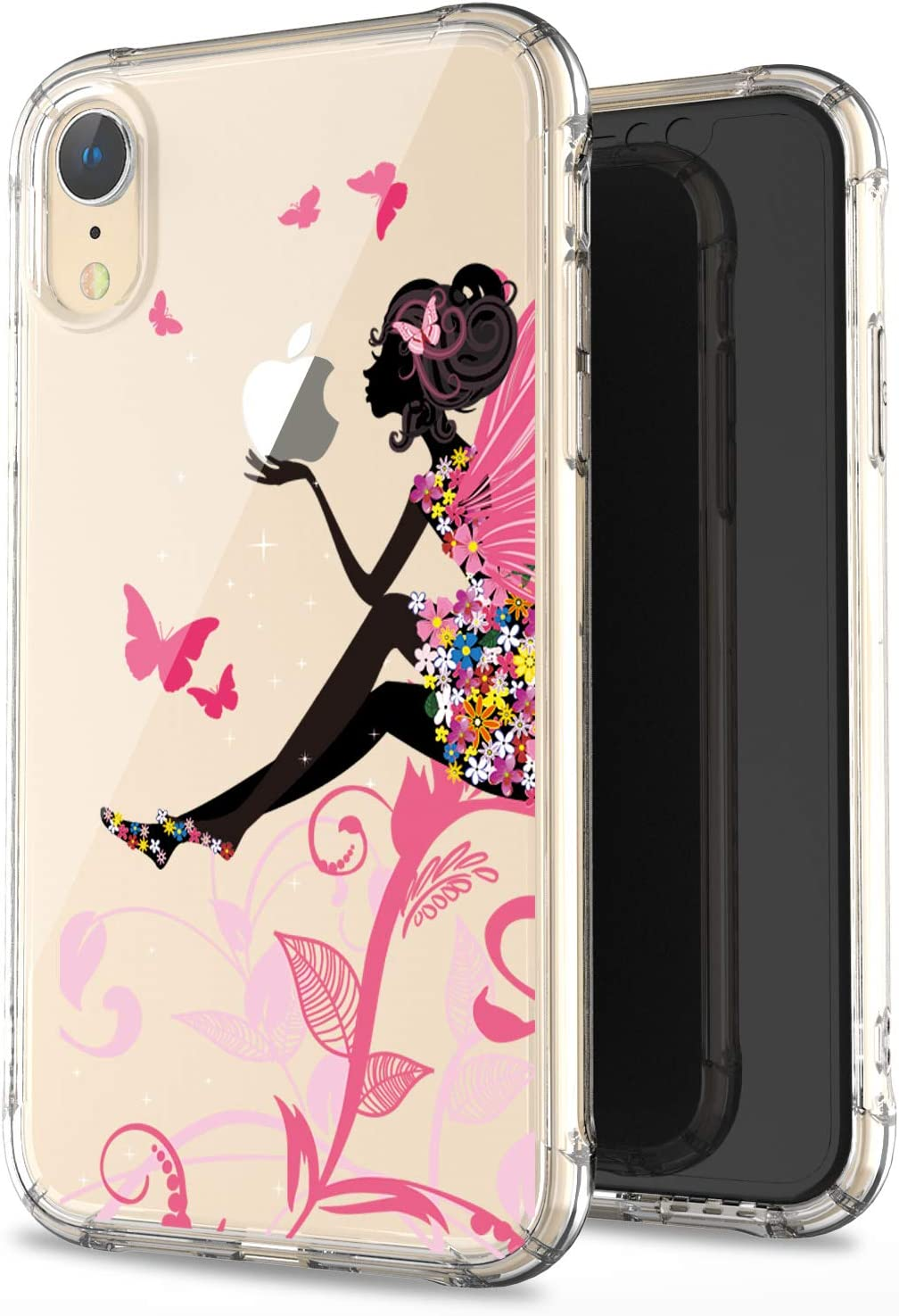 JAHOLAN Compatible iPhone XR Case Clear Cute Amusing Whimsical Design Flower Fairy Flexible Bumper TPU Soft Rubber Silicone Cover Phone Case for iPhone XR 2018 6.1 inch