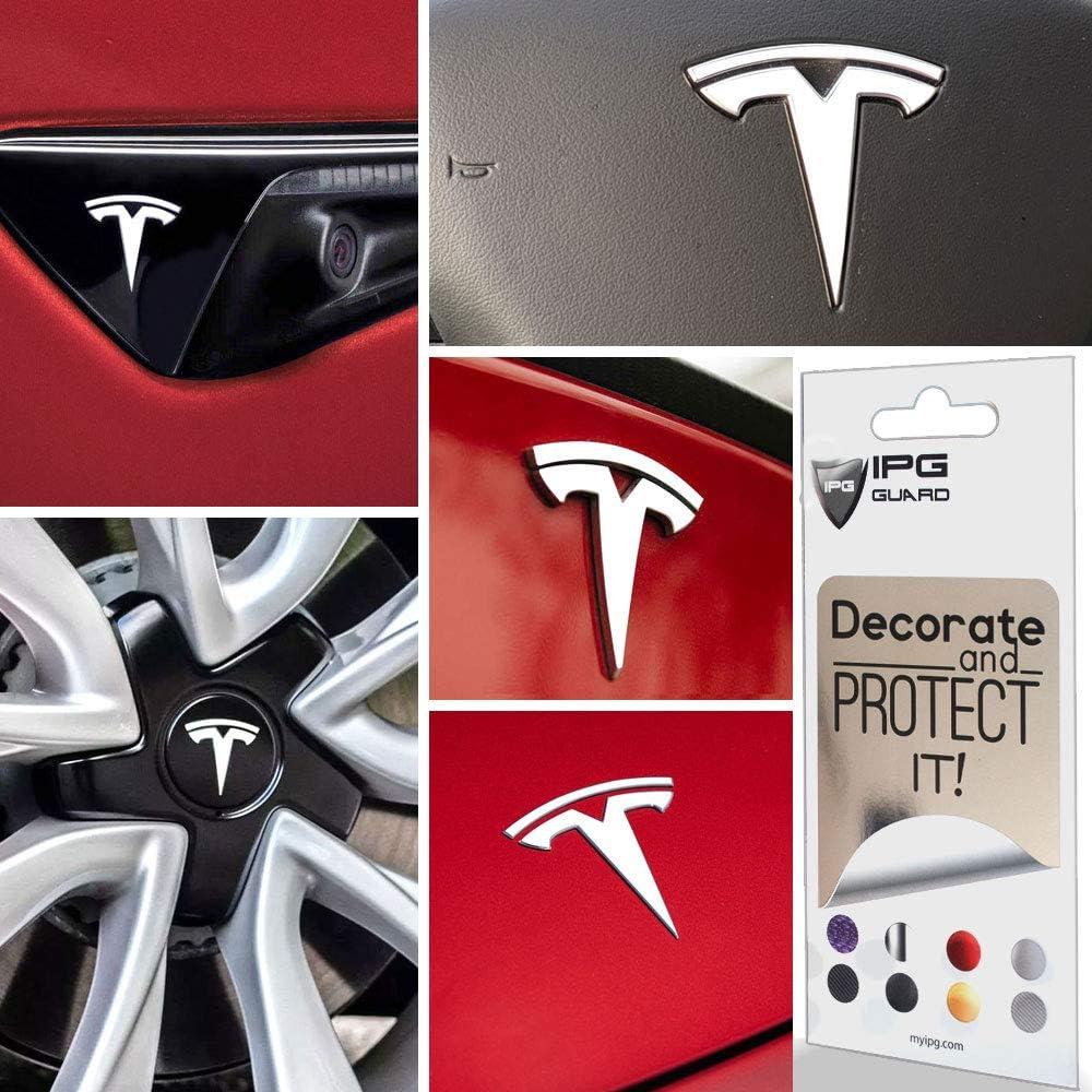 IPG for Tesla Model 3 Logo Decal Wrap Kit (9 Logo Set) Emblem Overlay Stickers - Emblem Do it Yourself Stickers Set Personalize Your Model 3