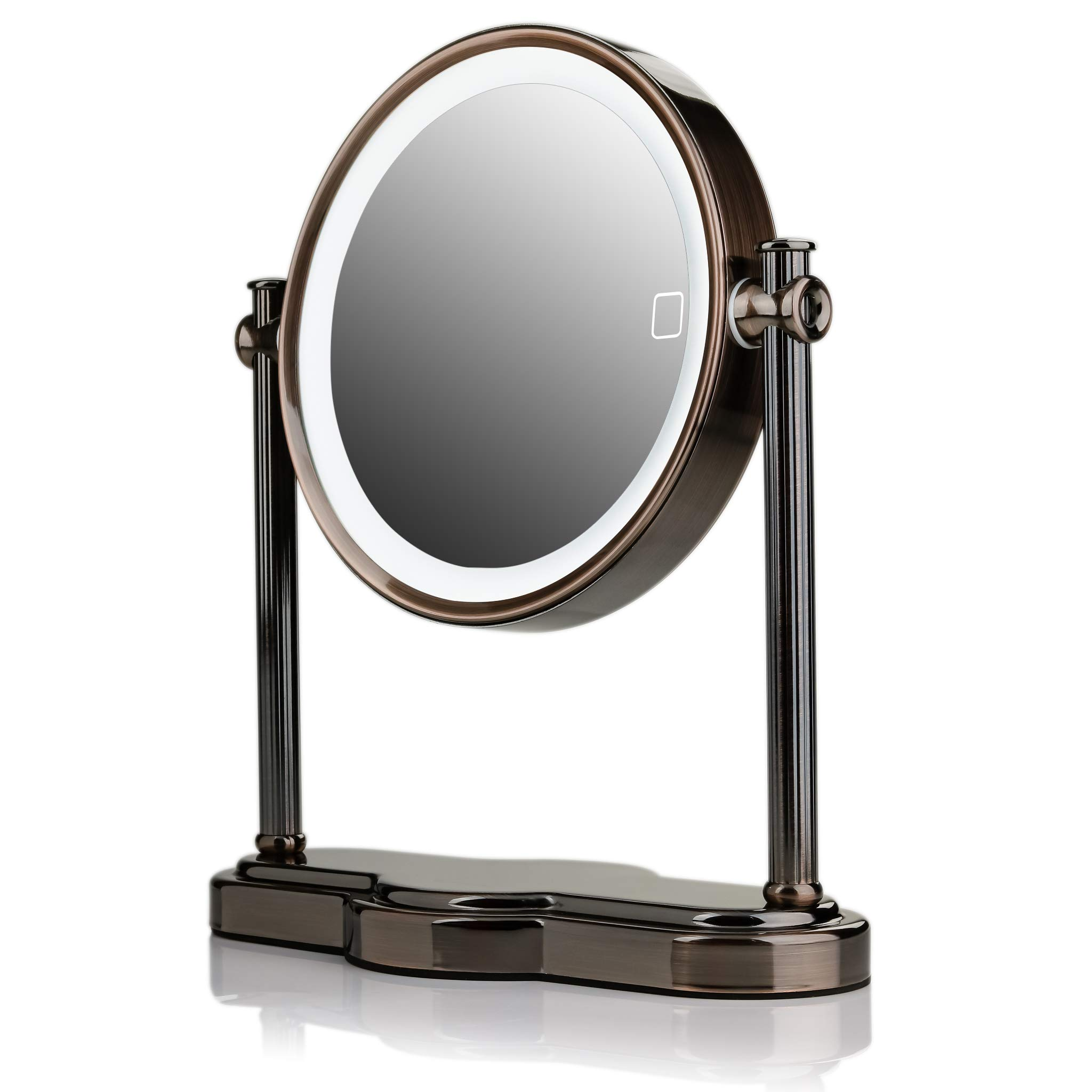 Ovente LED Lighted Makeup Mirror, SmartTouch 3-Tone Lighting (Daylight, Cool, Warm), Tabletop Vanity Mirror, Battery or USB Adapter Operated, 1x/10x Magnification, 8'', Antique Brass (MHT80AB1X10X) by Ovente