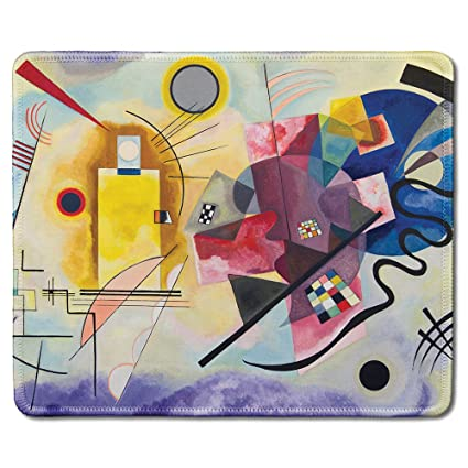 Dealzepic Art Mousepad Natural Rubber Mouse Pad With Famous Abstract Fine Art Painting Of Yellow Red Blue By Wassily Kandingsky Stitched Edges
