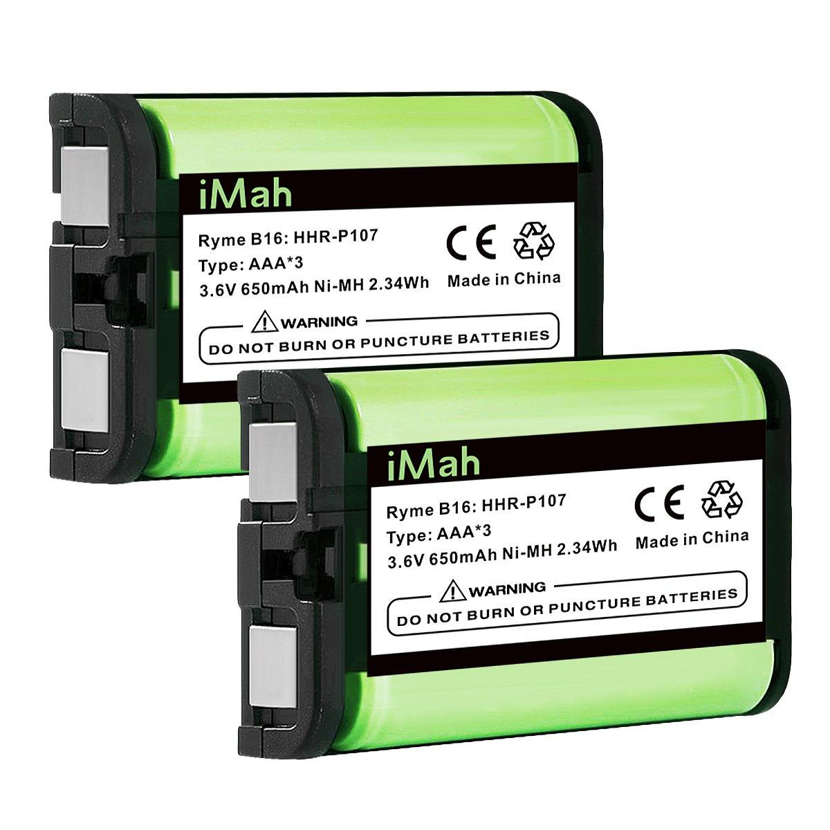 iMah HHR-P107 3.6V 650mAh Cordless Phone Battery Compatible with Panasonic PQSUHGLA1ZA HHR-P107A HHR-P107A/1B KX-TG6071 KX-TG6074 KX-TGA351 KX-TGA600 Handset Telephone (Type 35), Pack of 2