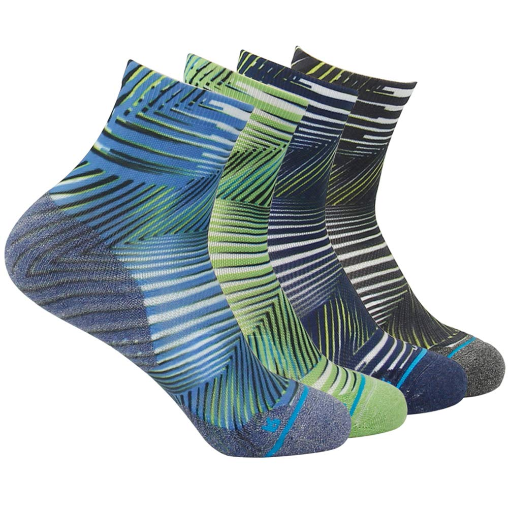 HUSO Running Quarter Socks for Men Women Novelty Stripe Print Cushion Seamless Socks 4 Pairs (Multicolor, L/XL) by HUSO