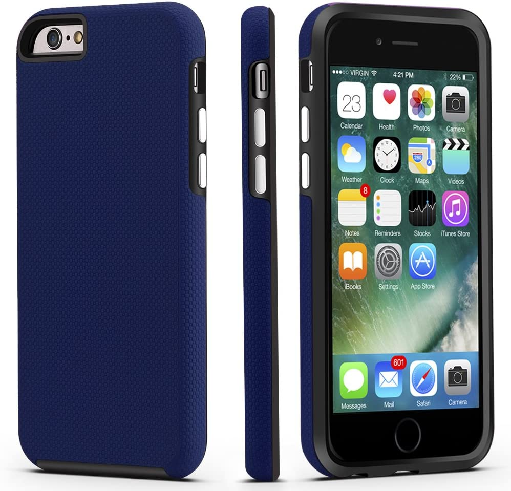 CellEver Compatible with iPhone 6 / 6s Case, Dual Guard Protective Shock-Absorbing Scratch-Resistant Rugged Drop Protection Cover Designed for iPhone 6 / 6S (Navy Blue)