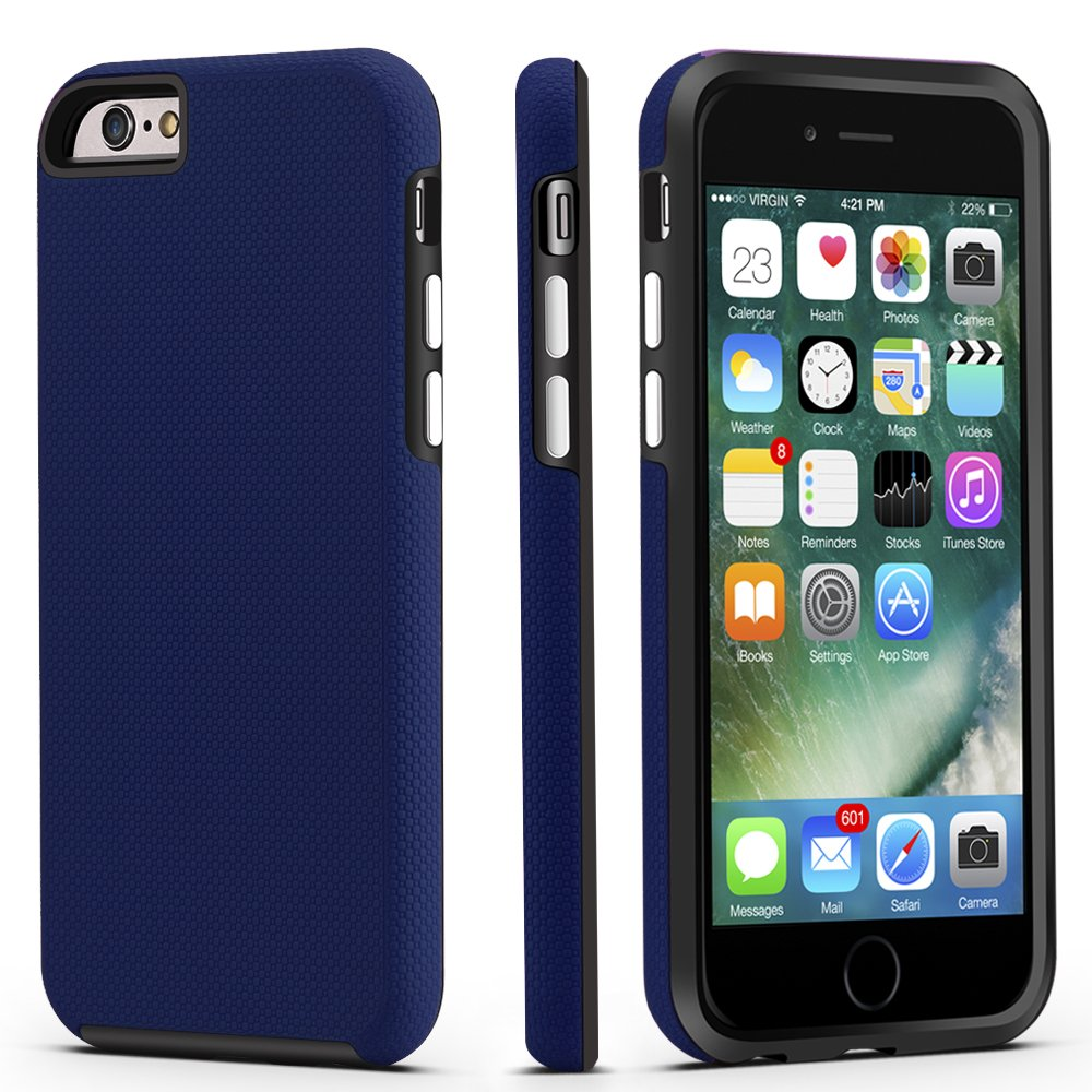 best service 5d3a5 5c70e iPhone 6 / 6s Case, CellEver Dual Guard Protective Shock-Absorbing  Scratch-Resistant Rugged Drop Protection Cover for Apple iPhone 6 / 6S  (Navy Blue)