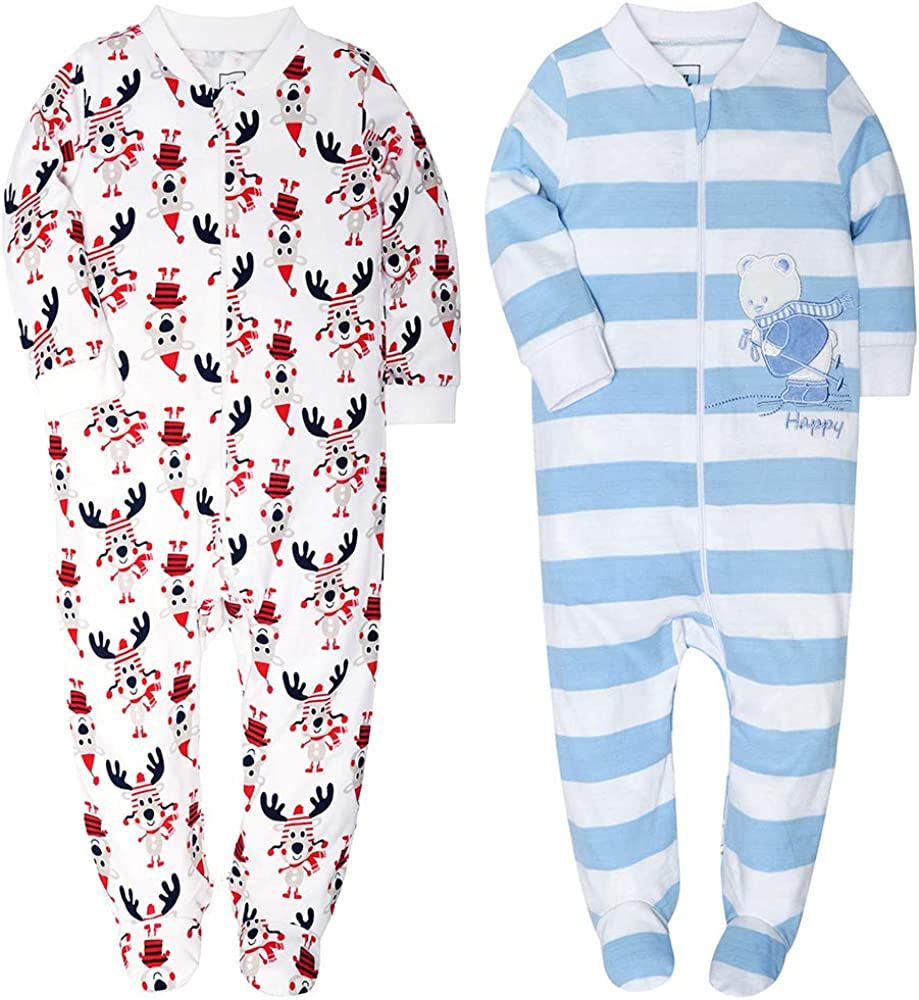 Cat Unisex Long Sleeve Baby Gown Baby Bodysuit Unionsuit Footed Pajamas Romper Jumpsuit