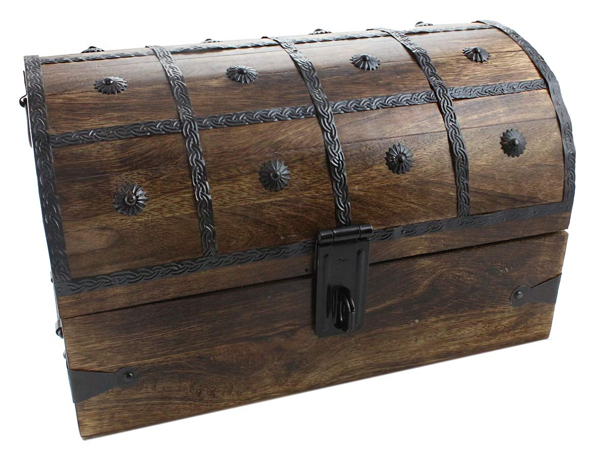 Well Pack Box Wooden Pirate Treasure Chest Wood Box 15 x 10 x 10 With Iron Lock Skeleton Key by Well Pack Box