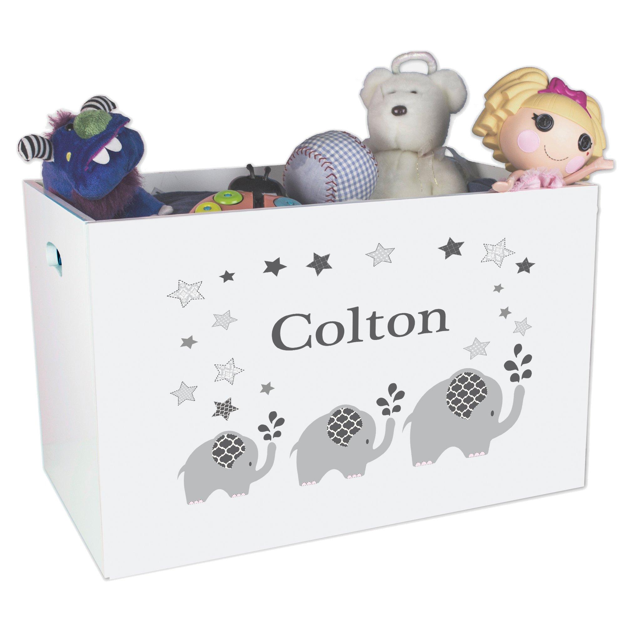 Personalized Elephant Childrens Nursery White Open Toy Box