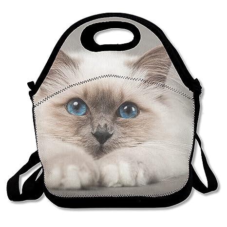 Neopreno almuerzo bolso - ojos azules gato impermeable ...