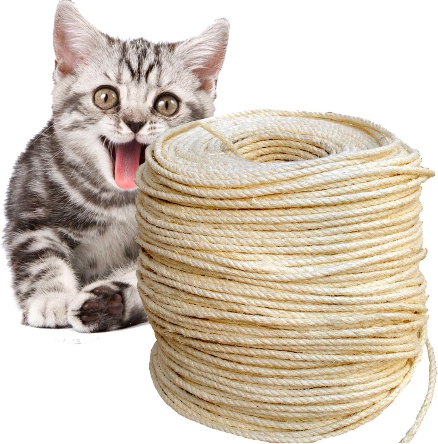 Natural, 10M Accesorios de Bricolaje Manualidades para Reemplazo /Árbol Rascador para Gatos Owoda Natural Cuerda de Sisal Gatos 8mm
