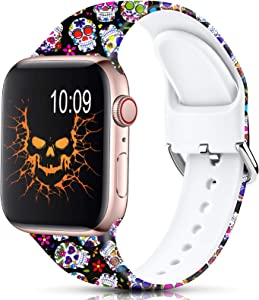 Sport Band Compatible with Apple Watch Bands 42mm 44mm for Women Men,Floral Silicone Printed Fadeless Pattern Replacement Strap Band for iWatch Series 3 6 5 4 2 1 SE,Skull,42/44 mm M/L