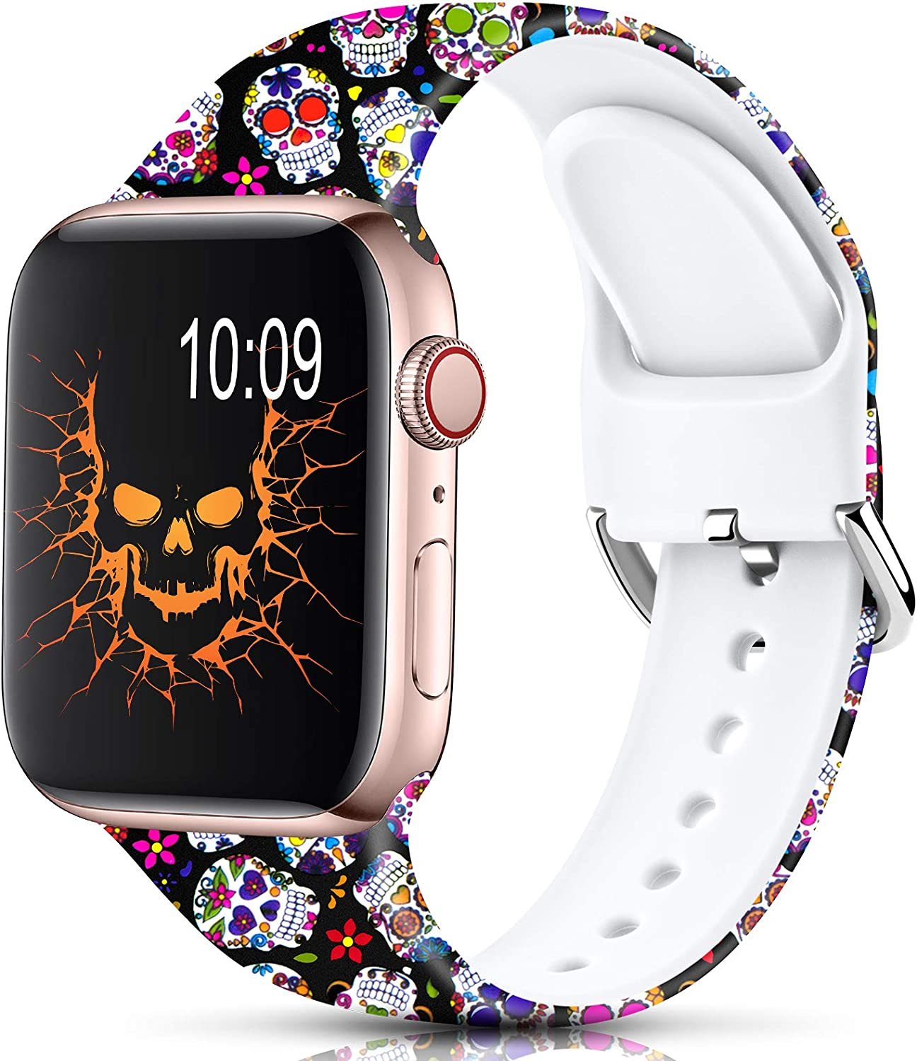 Sport Band Compatible with Apple Watch Bands 38mm 40mm 42mm 44mm for Women Men,Floral Silicone Printed Fadeless Pattern Replacement Strap Band for iWatch Series 3 6 5 4 2 1 SE,Skull,38/40 mm M/L