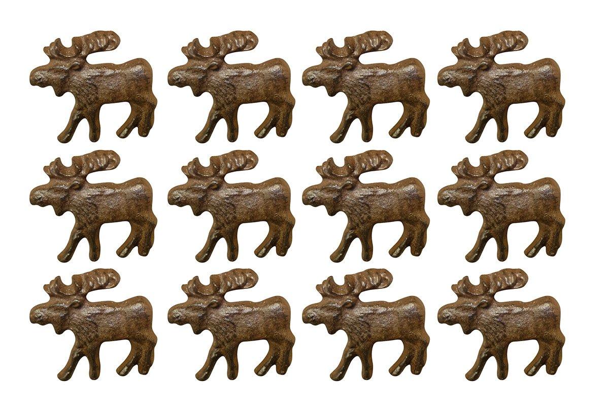 Zeckos Cast Iron Drawer Pulls Rustic Brown 12 Piece Cast Iron Moose Drawer Pull Set 2 X 1.75 X 2 Inches Brown DE LEON COLLECTIONS