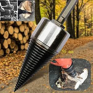 L Wood Drill Bit Firewood Splitter U Anti-Skid Thread U Screw Splitting Cone Screw Cone Driver Fire Wood Log Splitter Hex Shank Handle 32 oz House Repairing ,From USA,4-8 Working Days Delivery(50 mm)