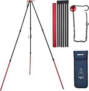 Xergur Camping Tripod, Portable Outdoor Cooking Tripod with Adjustable Hang Chain for Campfire Picnic Hanging Pot Grill Stand Mini Lightweight Aluminum Cookware Accessory with Storage Bag