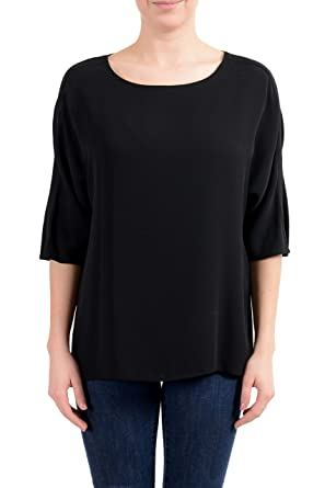 01eac717f0 Amazon.com: Versace 100% Silk Black 3/4 Sleeve Women's Blouse Top US ...