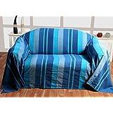 """Homescapes Funda Sofa de 230 x 260 cm color Azul en algodón de la coleccion """"Rayas"""""""